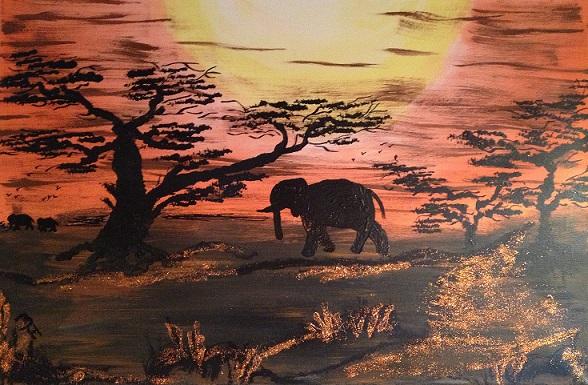 Elefant auf Leinwand von B.H.